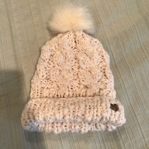 Betsey Johnson knit hat with pearl detail and Pom